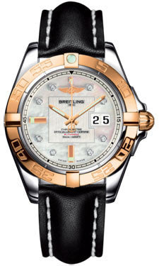 Breitling,Breitling - Galactic 41 Steel-Rose Gold - Leather Strap - Watch Brands Direct