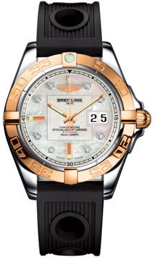 Breitling,Breitling - Galactic 41 Steel-Rose Gold - Ocean Racer Strap - Watch Brands Direct