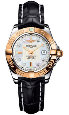 Breitling,Breitling - Galactic 32 Steel-Rose Gold - Croco Strap - Watch Brands Direct