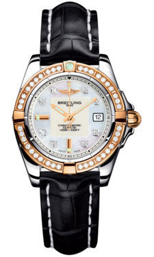 Breitling,Breitling - Galactic 32 Steel-Rose Gold - Diamond Bezel - Croco Strap - Watch Brands Direct