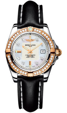 Breitling,Breitling - Galactic 32 Steel-Rose Gold - Diamond Bezel - Leather Strap - Watch Brands Direct