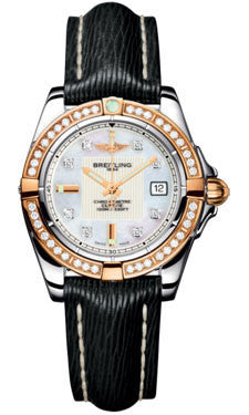 Breitling,Breitling - Galactic 32 Steel-Rose Gold - Diamond Bezel - Sahara Strap - Watch Brands Direct