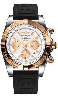 Breitling,Breitling - Chronomat 44 Steel and Rose Gold Polished Bezel - Diver Pro III Strap - Watch Brands Direct