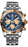 Breitling,Breitling - Chronomat 44 Steel and Rose Gold Polished Bezel - Pilot Steel Bracelet - Watch Brands Direct