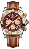 Breitling,Breitling - Chronomat 44 Steel and Rose Gold Polished Bezel - Croco Strap - Watch Brands Direct