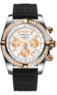 Breitling,Breitling - Chronomat 44 Steel and Rose Gold 40 Diamond Bezel - Diver Pro III Strap - Watch Brands Direct
