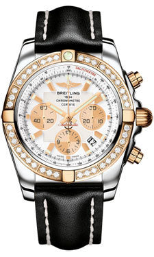 Breitling,Breitling - Chronomat 44 Steel and Rose Gold 40 Diamond Bezel - Leather Strap - Watch Brands Direct