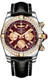 Breitling,Breitling - Chronomat 44 Steel and Rose Gold 40 Diamond Bezel - Croco Strap - Watch Brands Direct