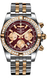 Breitling,Breitling - Chronomat 44 Steel and Rose Gold 40 Diamond Bezel - Two-Tone Pilot Bracelet - Watch Brands Direct