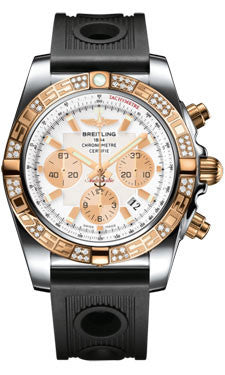 Breitling,Breitling - Chronomat 44 Steel and Rose Gold 60 Diamond Bezel - Ocean Racer Strap - Watch Brands Direct