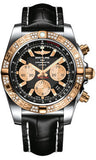 Breitling,Breitling - Chronomat 44 Steel and Rose Gold 60 Diamond Bezel - Croco Strap - Watch Brands Direct