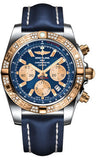 Breitling,Breitling - Chronomat 44 Steel and Rose Gold 60 Diamond Bezel - Leather Strap - Watch Brands Direct