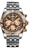 Breitling,Breitling - Chronomat 44 Steel and Rose Gold 60 Diamond Bezel - Pilot Bracelet - Steel - Watch Brands Direct