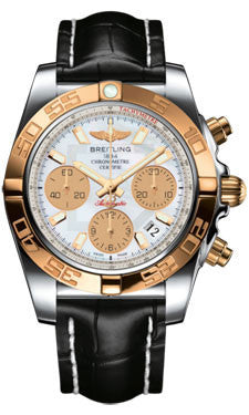 Breitling,Breitling - Chronomat 41 Steel and Gold Polished Bezel - Croco Strap - Watch Brands Direct