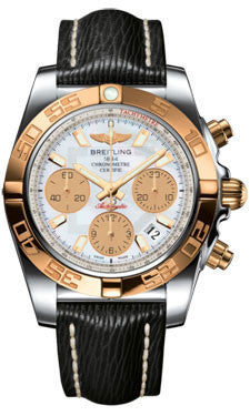 Breitling,Breitling - Chronomat 41 Steel and Gold Polished Bezel - Sahara Leather Strap - Watch Brands Direct