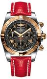 Breitling,Breitling - Chronomat 41 Steel and Gold Polished Bezel - Lizard Strap - Watch Brands Direct