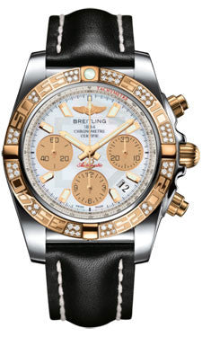 Breitling,Breitling - Chronomat 41 Steel and Gold Diamond Bezel - Leather Strap - Watch Brands Direct