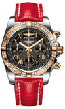 Breitling,Breitling - Chronomat 41 Steel and Gold Diamond Bezel - Lizard Strap - Watch Brands Direct