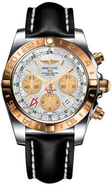 Breitling,Breitling - Chronomat 44 GMT Steel and Gold on Leather - Watch Brands Direct