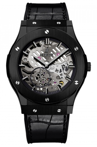 Hublot,Hublot - Classic Fusion Ultra-Thin Skeleton Black Ceramic - Watch Brands Direct