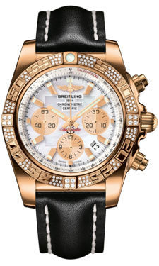 Breitling,Breitling - Chronomat 44 Rose Gold Diamond Bezel - Leather Strap - Watch Brands Direct