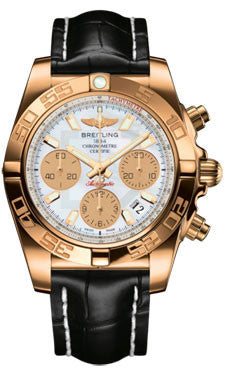 Breitling,Breitling - Chronomat 41 Rose Gold Polished Bezel - Croco Strap - Watch Brands Direct