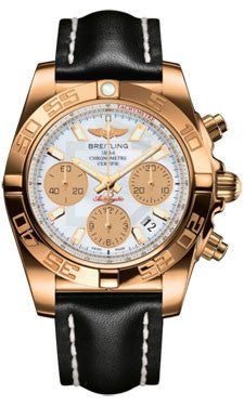 Breitling,Breitling - Chronomat 41 Rose Gold Polished Bezel - Leather Strap - Watch Brands Direct