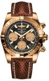 Breitling,Breitling - Chronomat 41 Rose Gold Polished Bezel - Lizard Strap - Watch Brands Direct