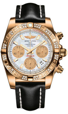 Breitling,Breitling - Chronomat 41 Rose Gold Diamond Bezel - Leather Strap - Watch Brands Direct