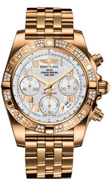 Breitling,Breitling - Chronomat 41 Rose Gold Diamond Bezel - Rose Gold Bracelet - Watch Brands Direct