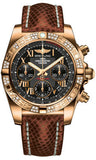 Breitling,Breitling - Chronomat 41 Rose Gold Diamond Bezel - Lizard Strap - Watch Brands Direct