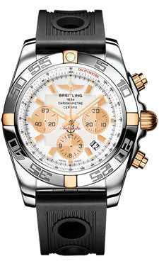 Breitling,Breitling - Chronomat 44 Steel and Rose Gold Polished Bezel - Ocean Racer Strap - Watch Brands Direct