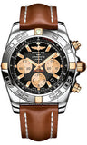Breitling,Breitling - Chronomat 44 Two-Tone Polished Bezel - Leather Strap - Watch Brands Direct