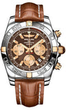 Breitling,Breitling - Chronomat 44 Two-Tone Polished Bezel - Croco Strap - Watch Brands Direct