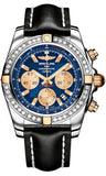 Breitling,Breitling - Chronomat 44 Two-Tone 40 Diamond Bezel - Leather Strap - Watch Brands Direct