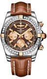 Breitling,Breitling - Chronomat 44 Two-Tone 40 Diamond Bezel - Croco Strap - Watch Brands Direct