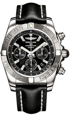 Breitling,Breitling - Chronomat 44 White Gold Polished Bezel - Leather Strap - Watch Brands Direct