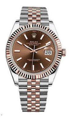 Rolex,Rolex - Datejust 41mm - Stainless Steel and Everose Gold - Fluted Bezel - Watch Brands Direct