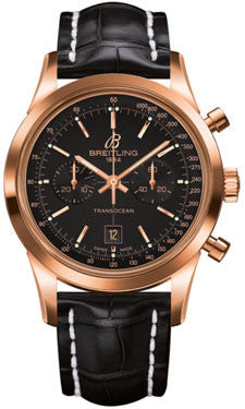 Breitling - Transocean Chronograph 38 Red Gold - Croco Strap - Watch Brands Direct  - 1