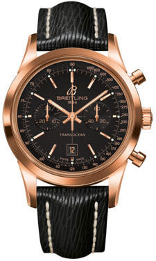 Breitling,Breitling - Transocean Chronograph 38 Red Gold - Sahara Strap - Tang - Watch Brands Direct