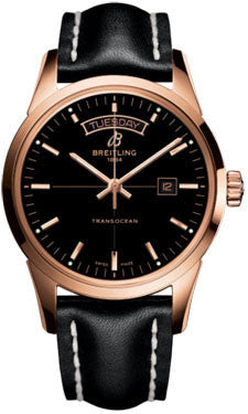 Breitling,Breitling - Transocean Day and Date Red Gold - Leather Strap - Watch Brands Direct