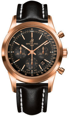 Breitling,Breitling - Transocean Chronograph Red Gold - Leather Strap - Watch Brands Direct