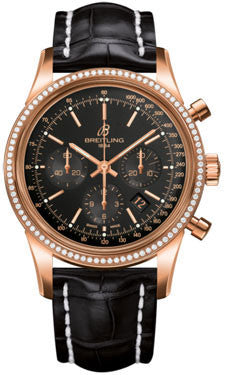 Breitling,Breitling - Transocean Chronograph Red Gold - Diamond Bezel - Croco Strap - Watch Brands Direct