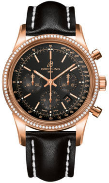 Breitling,Breitling - Transocean Chronograph Red Gold - Diamond Bezel - Leather Strap - Watch Brands Direct
