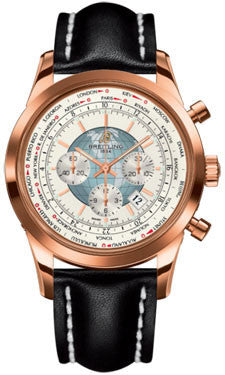 Breitling,Breitling - Transocean Chronograph Unitime Red Gold - Leather Strap - Watch Brands Direct