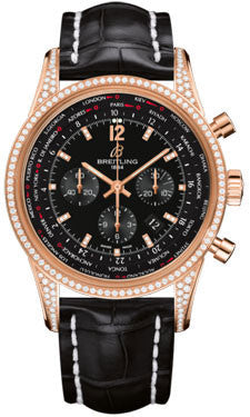 Breitling,Breitling - Transocean Unitime Pilot Red Gold Diamonds - Watch Brands Direct