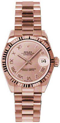 Rolex,Rolex - Datejust 31mm - Gold President Pink Gold - Fluted Bezel - President - Watch Brands Direct