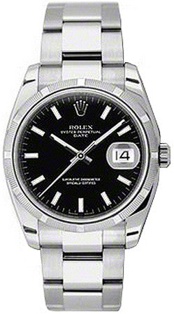 Rolex,Rolex - Date 34mm Engine Turned Bezel - Oyster Bracelet - Watch Brands Direct
