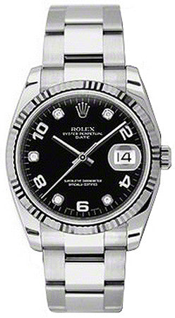 Rolex,Rolex - Date 34mm Fluted Bezel - Oyster Bracelet - Watch Brands Direct