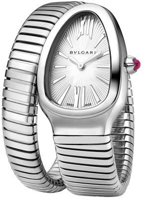 Bulgari,Bulgari - Ladies Serpenti Tubogas 35mm - Stainless Steel - Silver Opaline Dial - Watch Brands Direct